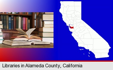 books on a library table and on library bookshelves; Alameda County highlighted in red on a map