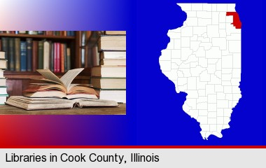 books on a library table and on library bookshelves; Cook County highlighted in red on a map