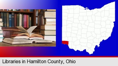 books on a library table and on library bookshelves; Hamilton County highlighted in red on a map
