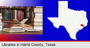 books on a library table and on library bookshelves; Harris County highlighted in red on a map