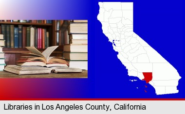 books on a library table and on library bookshelves; Los Angeles County highlighted in red on a map