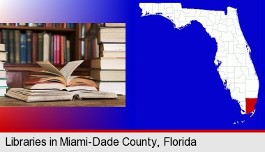 books on a library table and on library bookshelves; Miami-Dade County highlighted in red on a map