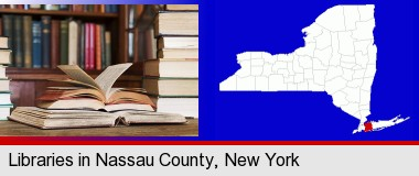 books on a library table and on library bookshelves; Nassau County highlighted in red on a map