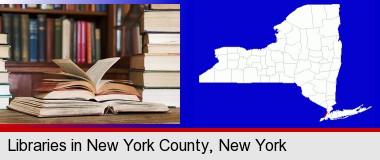 books on a library table and on library bookshelves; New York County highlighted in red on a map