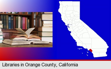 books on a library table and on library bookshelves; Orange County highlighted in red on a map