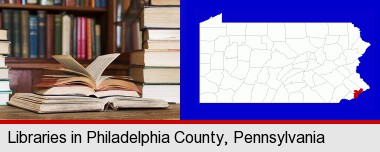 books on a library table and on library bookshelves; Philadelphia County highlighted in red on a map