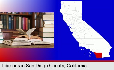 books on a library table and on library bookshelves; San Diego County highlighted in red on a map
