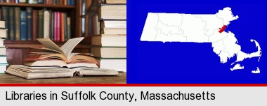 books on a library table and on library bookshelves; Suffolk County highlighted in red on a map
