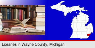 books on a library table and on library bookshelves; Wayne County highlighted in red on a map